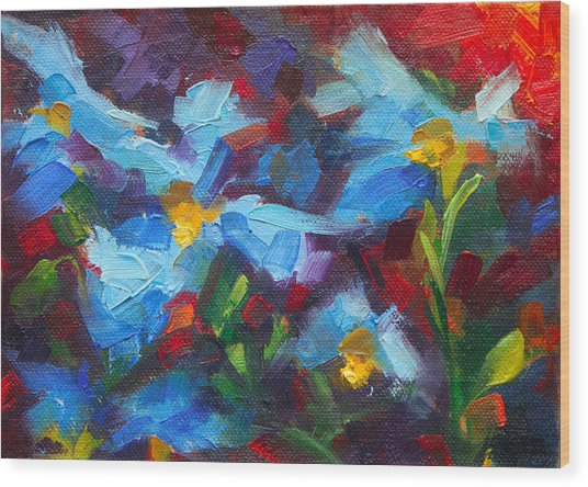 Nature's Palette - Himalayan Blue Poppy Oil Painting Meconopsis Betonicifoliae Wood Print