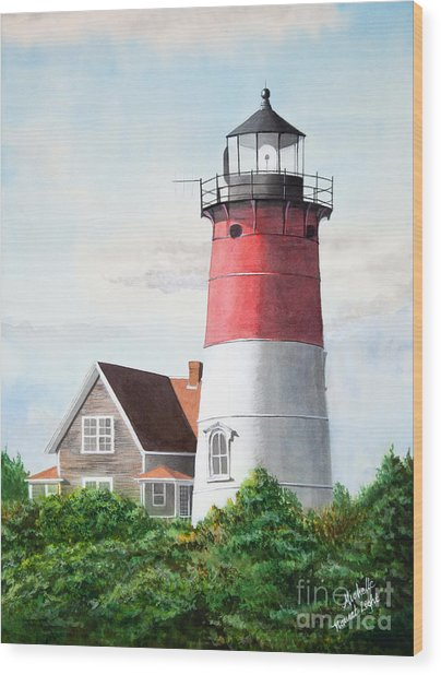 Nauset Beach Memories Watercolor Painting Wood Print