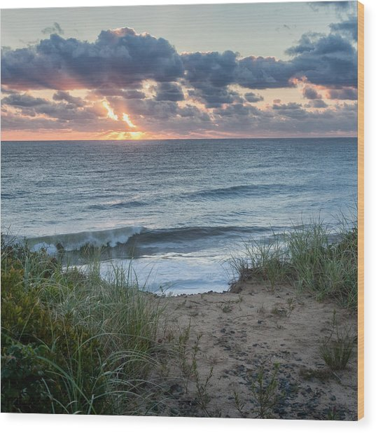 Nauset Light Beach Sunrise Square Wood Print