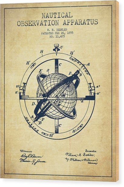Nautical Observation Apparatus Patent From 1895 - Vintage Wood Print