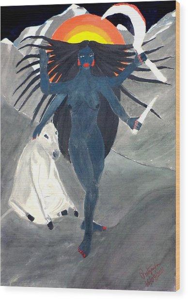 Nava Durga Kaalraatri Wood Print