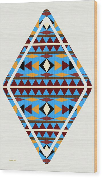 Navajo Blue Pattern Art Wood Print