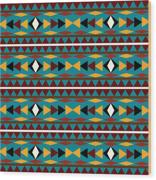 Navajo Teal Pattern Wood Print