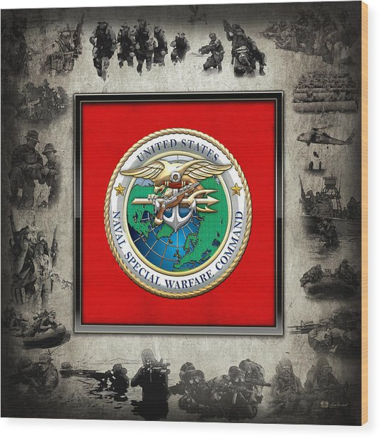 Naval Special Warfare Command - N S W C - Emblem  Over Navy Seals Collage Wood Print