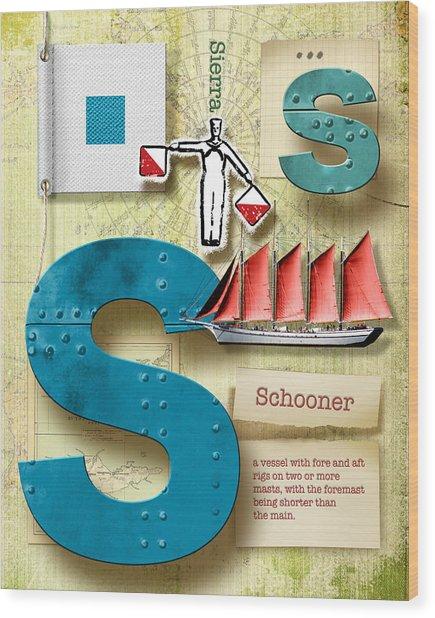Navy Alphabet Nautical Letter S Wood Print