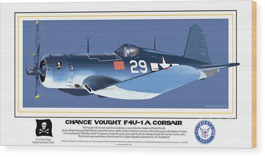 Navy Corsair 29 On Blue Wood Print