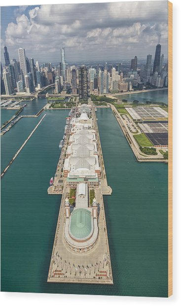Navy Pier Chicago Aerial Wood Print