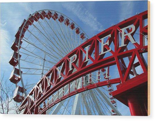 Navy Pier Ferris Wheel Wood Print by James Hammen