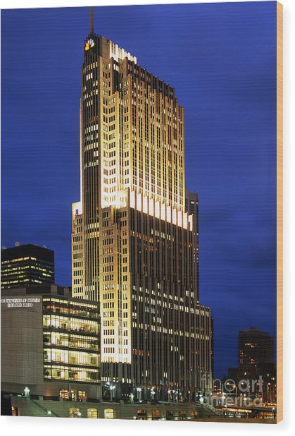Nbc Tower Building Wood Print