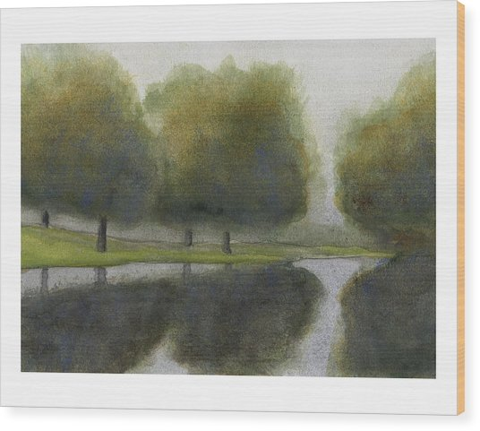 Ne 1st St Fog Wood Print