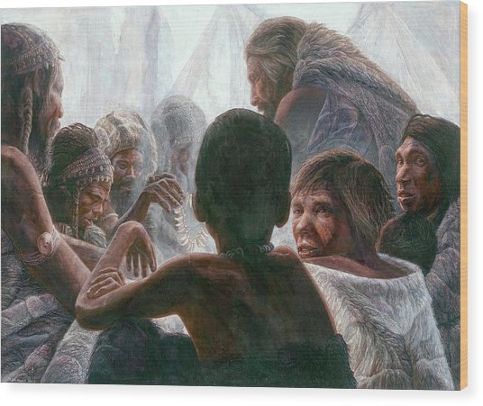 Neanderthals With Modern Humans Wood Print by Kennis And Kennismsf
