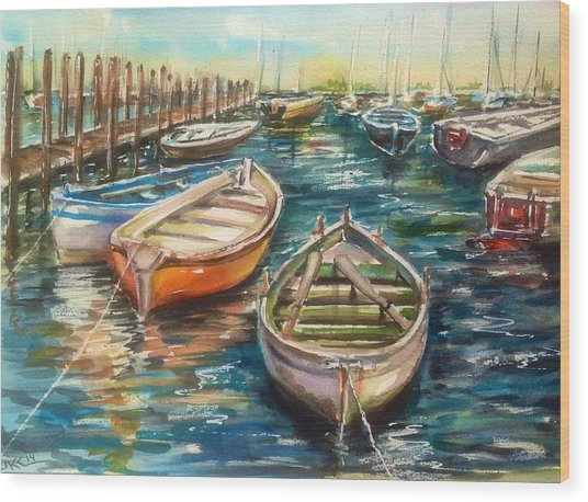 Near The Harbour Wood Print