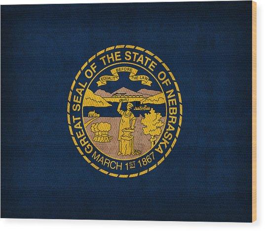 Nebraska State Flag Art On Worn Canvas Wood Print