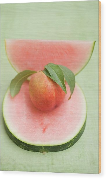 Nectarine With Leaves, Slice And Wedge Of Watermelon Wood Print