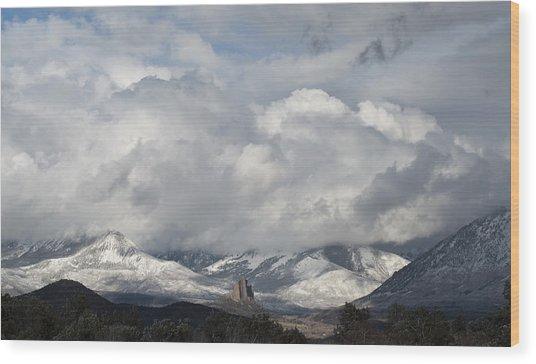 Needle Rock Clearing Sky Wood Print