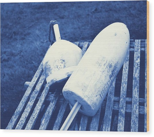 Negative Blue Wood Print by JAMART Photography