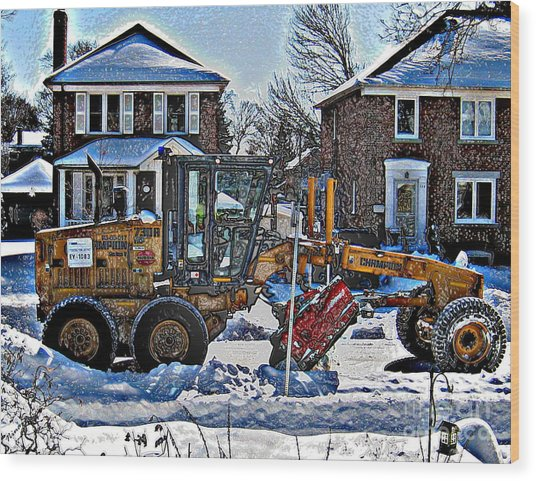 Neighbourhood Snowplough Wood Print