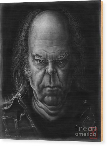 Neil Young Wood Print