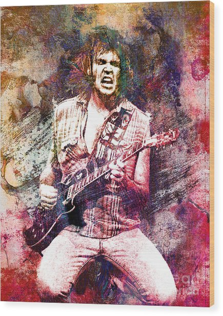 Neil Young Original Painting Print Wood Print