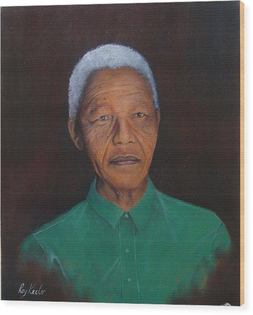 Nelson Mandela Wood Print by Roy Keeler