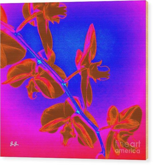 Neon Blooms Wood Print