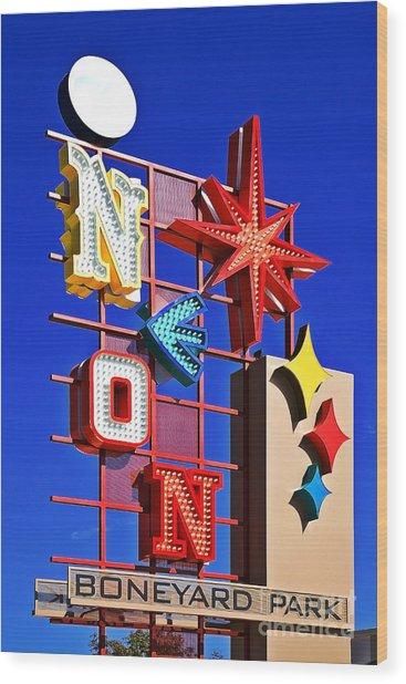 Vegas Neon Boneyard Wood Print
