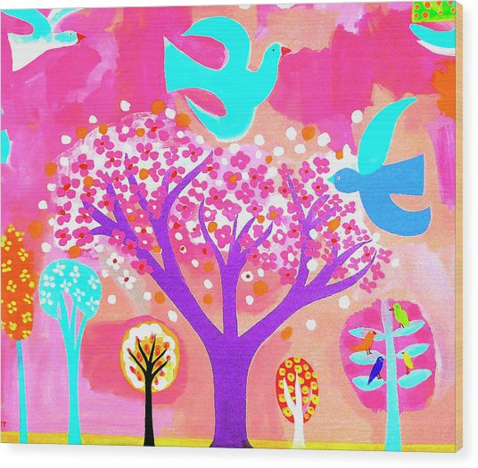 Neon Colored Birds And Flowering Trees Wood Print by Christopher Corr