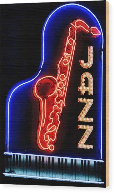 Neon Jazz Wood Print