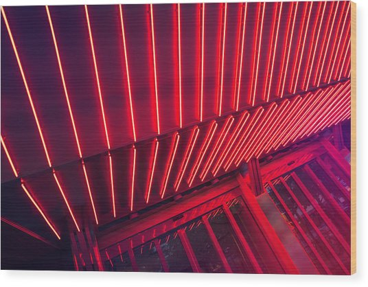 Neon Lit Entrance Wood Print by Marcus Lindstrom