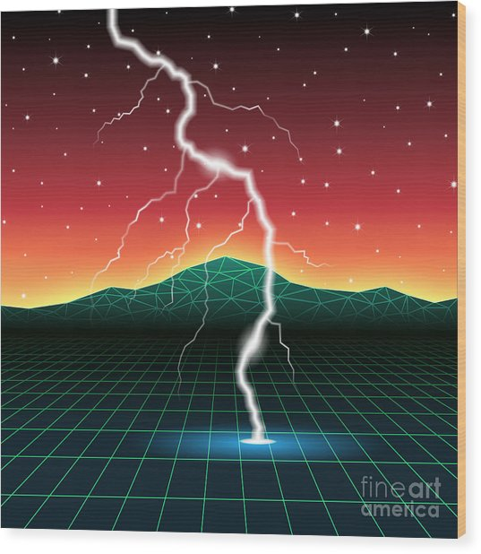 Neon New Retro Wave Landscape With Wood Print