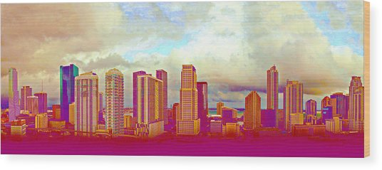 Neon Panorama 1 Wood Print by Michael Guirguis