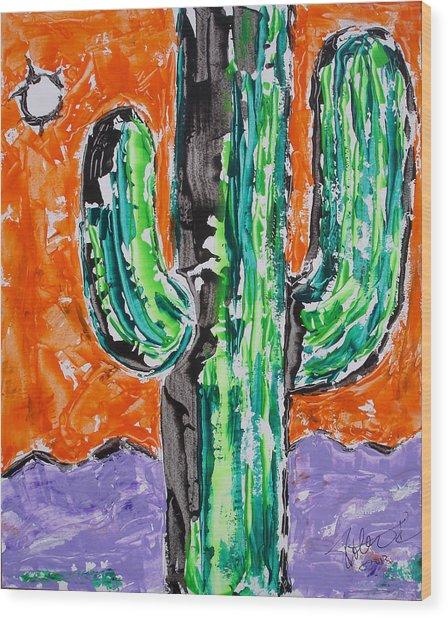 Neon Saguaro Cactus Limited Edition Poster Christmas Card Wood Print