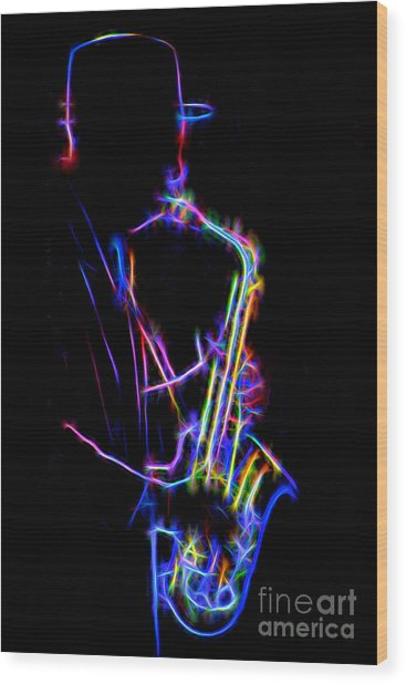 Neon Sax Wood Print