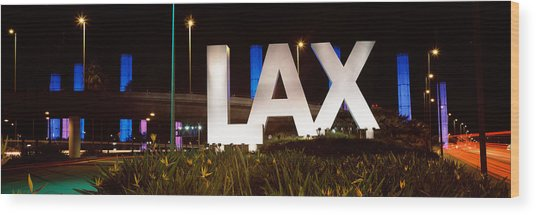 Neon Sign At An Airport, Lax Airport Wood Print