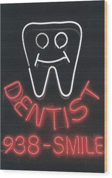 Neon Smile Wood Print