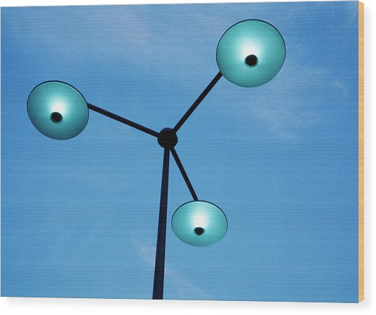 Neon Streetlight Wood Print