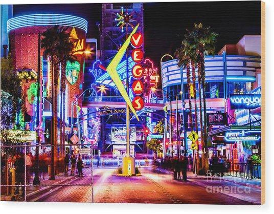 Neon Vegas Wood Print