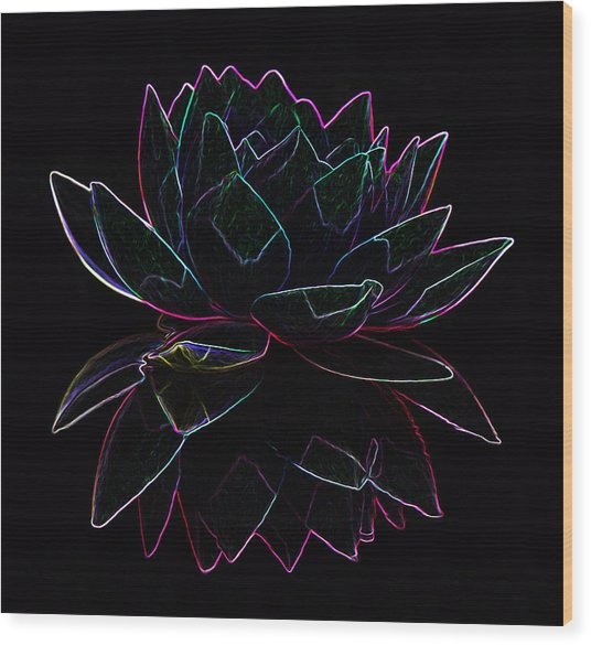 Neon Water Lily Wood Print
