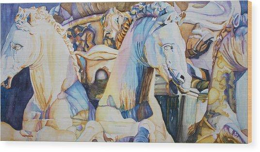 Neptune's Sea Horses - Florence Wood Print
