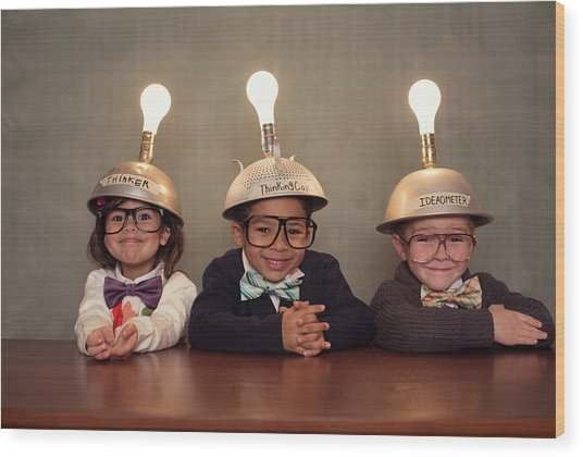 Nerd Children Wearing Lighted Mind Wood Print by Richvintage