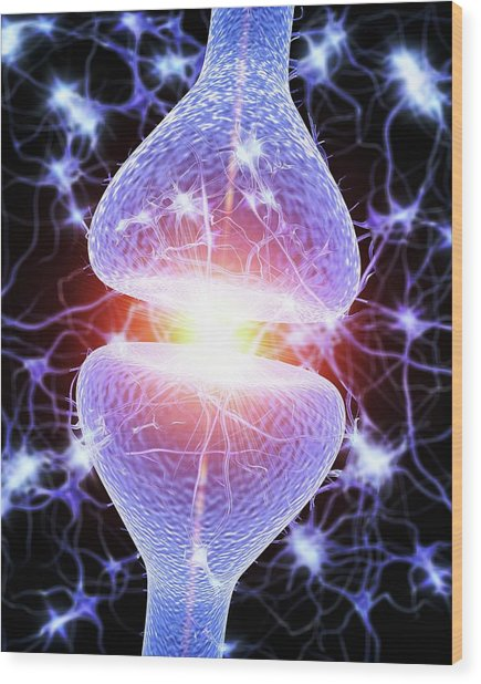 Nerve Synapse Wood Print
