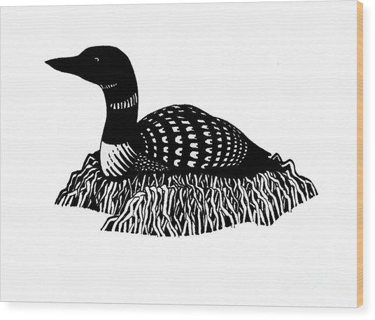 Nesting Loon Wood Print