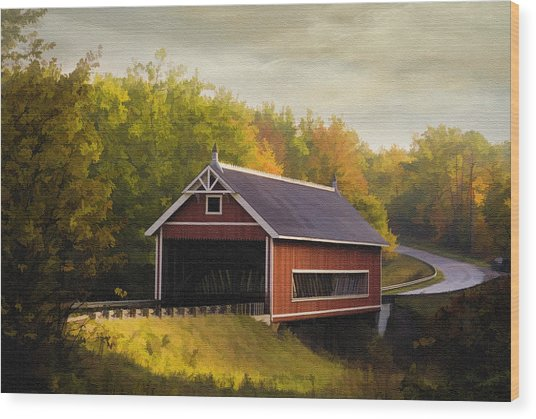 Netcher Road Covered Bridge Wood Print