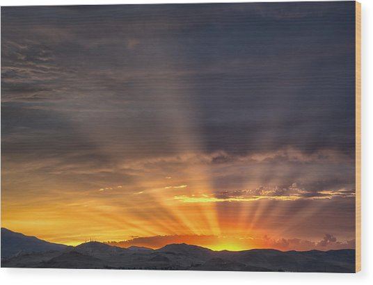Nevada Sunset Wood Print