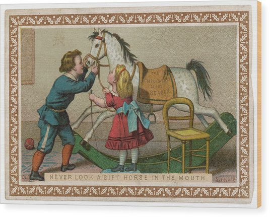 Never Look A Gift Horse In The  Mouth Wood Print by Mary Evans Picture Library