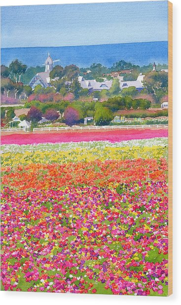 New Carlsbad Flower Fields Wood Print