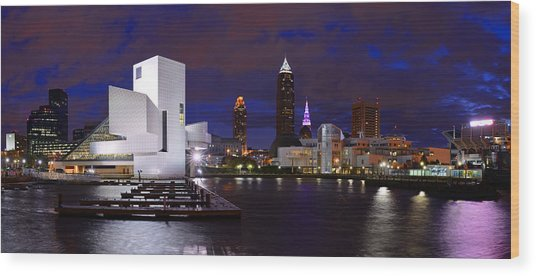 New Cleveland Waterfront With Storm Clouds Wood Print