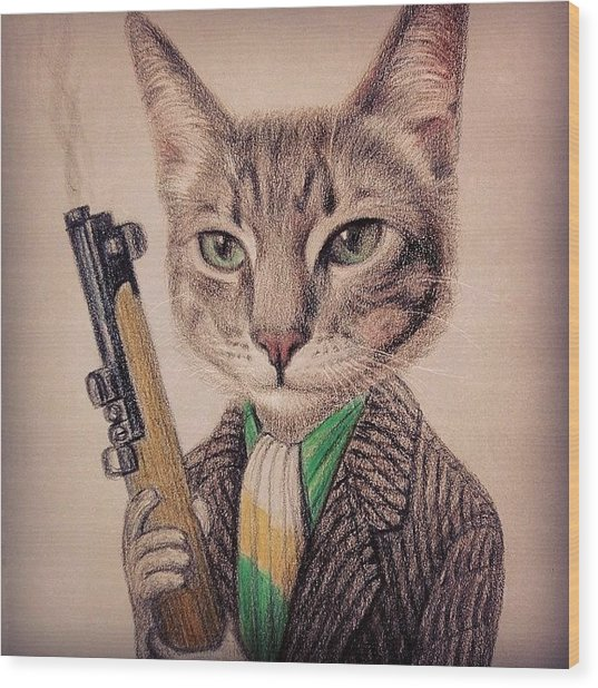 New Color Pencil Animal Cat Drawing Wood Print by Wind Z