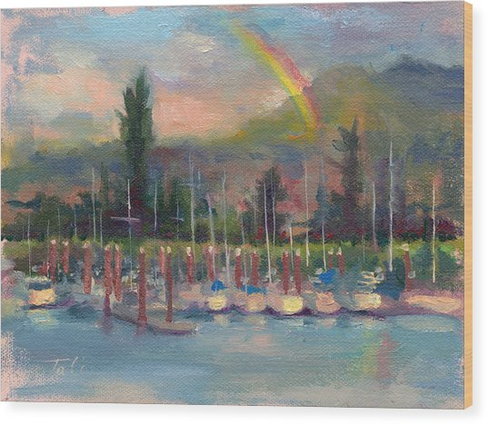 New Covenant - Rainbow Over Marina Wood Print