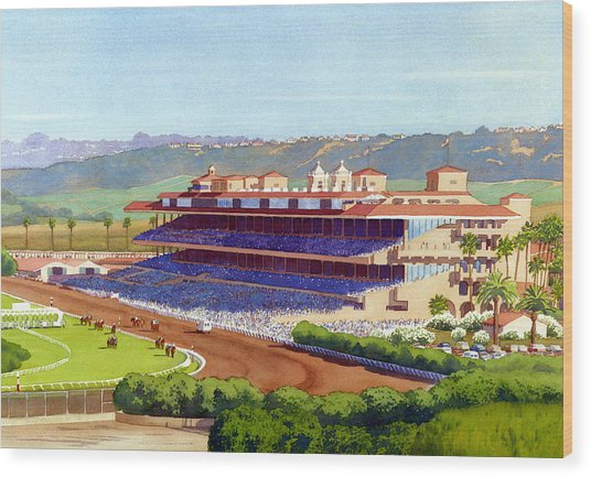 New Del Mar Racetrack Wood Print by Mary Helmreich